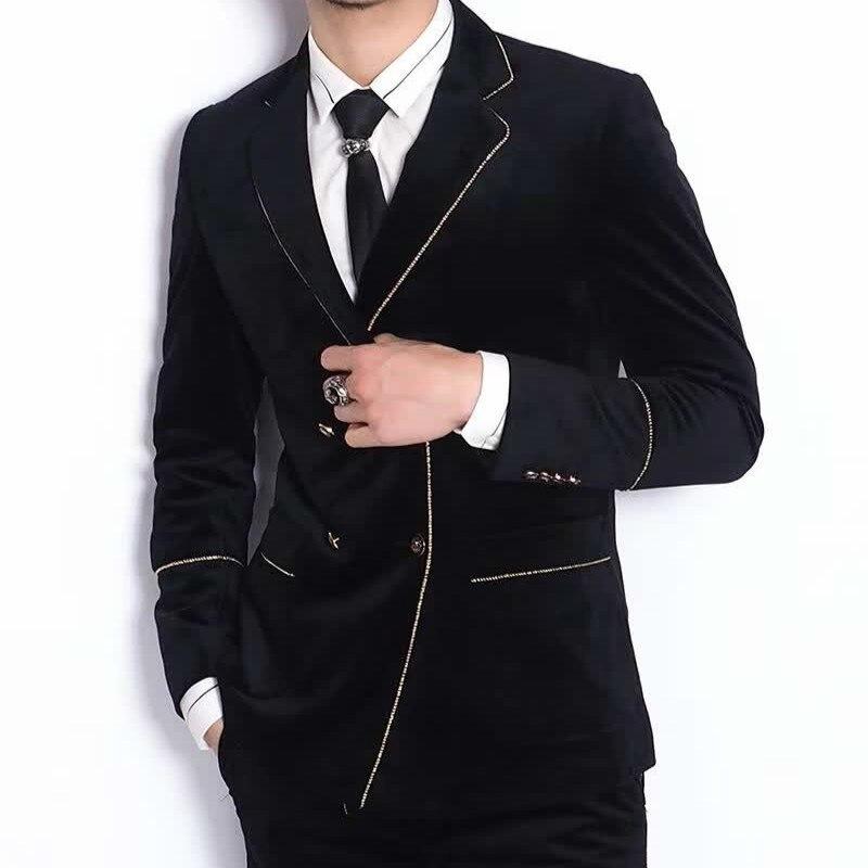 Double Breast Velvet 2020 Contrast Gold Yarn Black Wedding Suit Smoking Uomo Groom Men Slim Fit Designer Tuxedo Marriage