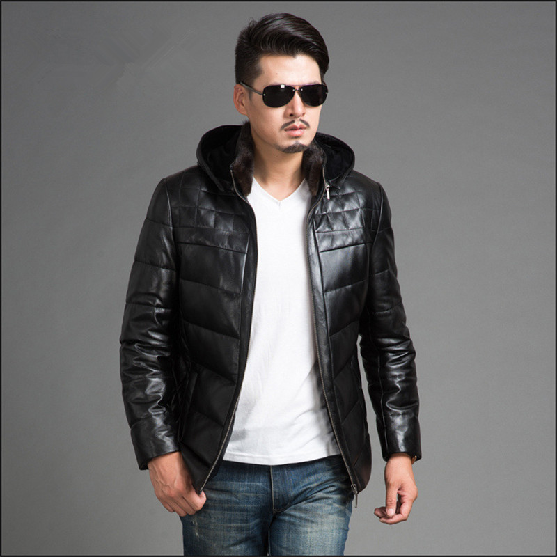 Men's Winter Genuine Leather Jackets Brand Clothing Black Sheepskin Jacket And Coats Chaqueta Cuero Hombre 4XL FYY585
