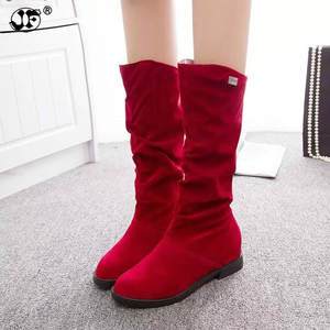 Fashion New Autumn Mid-Calf Women Boots Black Red Blue Thick Heels Half Boots Winter Female Diamante Long 446