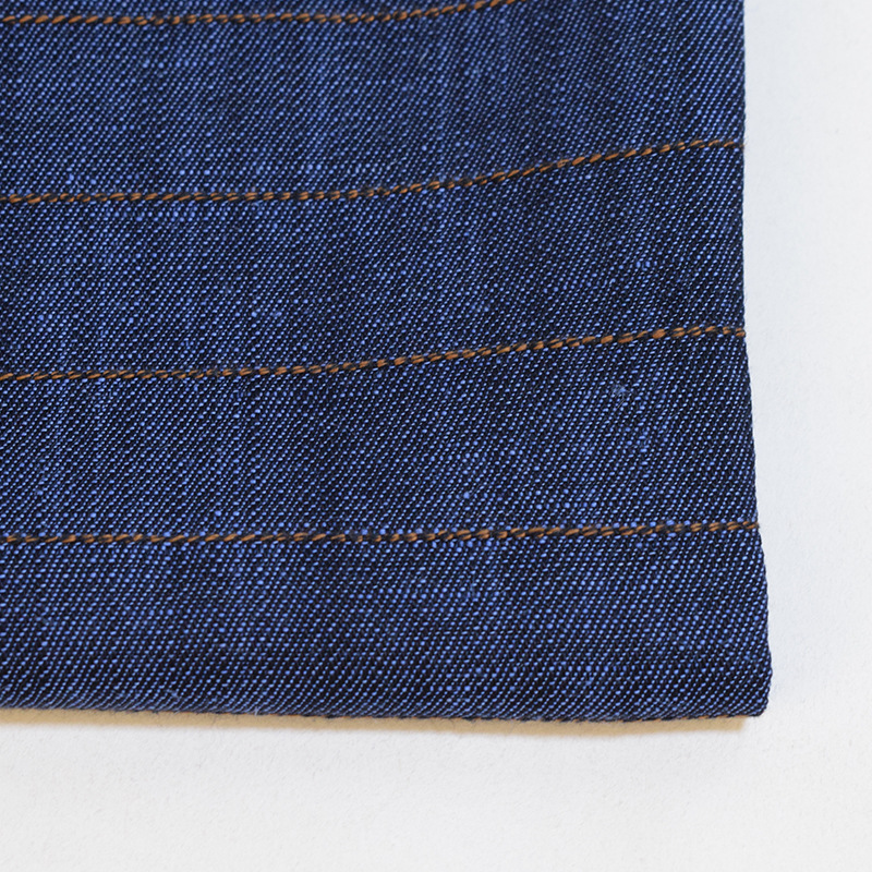 Check woven lyocell denim fabric 40% tencel 55% linen 5% cotton washed for jeans coat