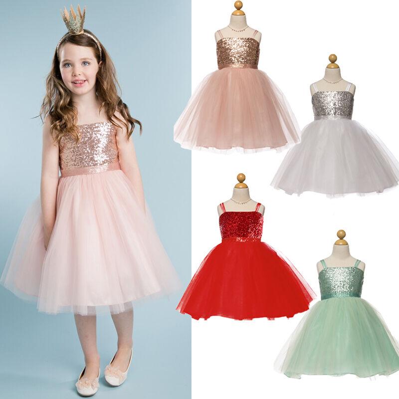 Kids Girls Sweet Party Dress Wedding Bridesmaid Princess Dress