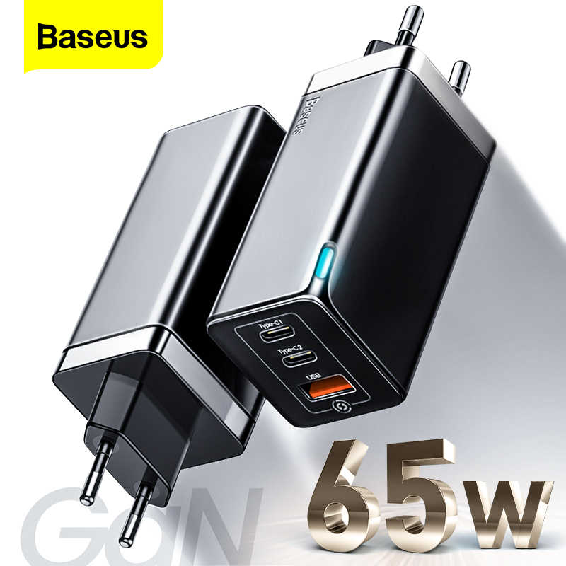 Baseus 65W Gan Fast Charger Type C Pd Quick Charge 4.0 Qc 3.0 Eu Us Plug 3 Poorten Usb draagbare Oplader Voor Iphone Huawei Xiaomi