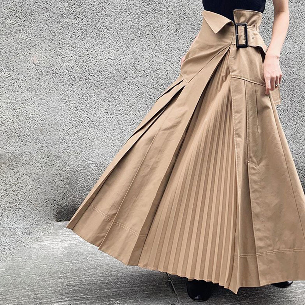 Japan Asymmetrical Casual Pleated Skirt Women Plain Khaki Harajuku Hipster Office Ladies Plus Size High Waist Long Skirts Korea