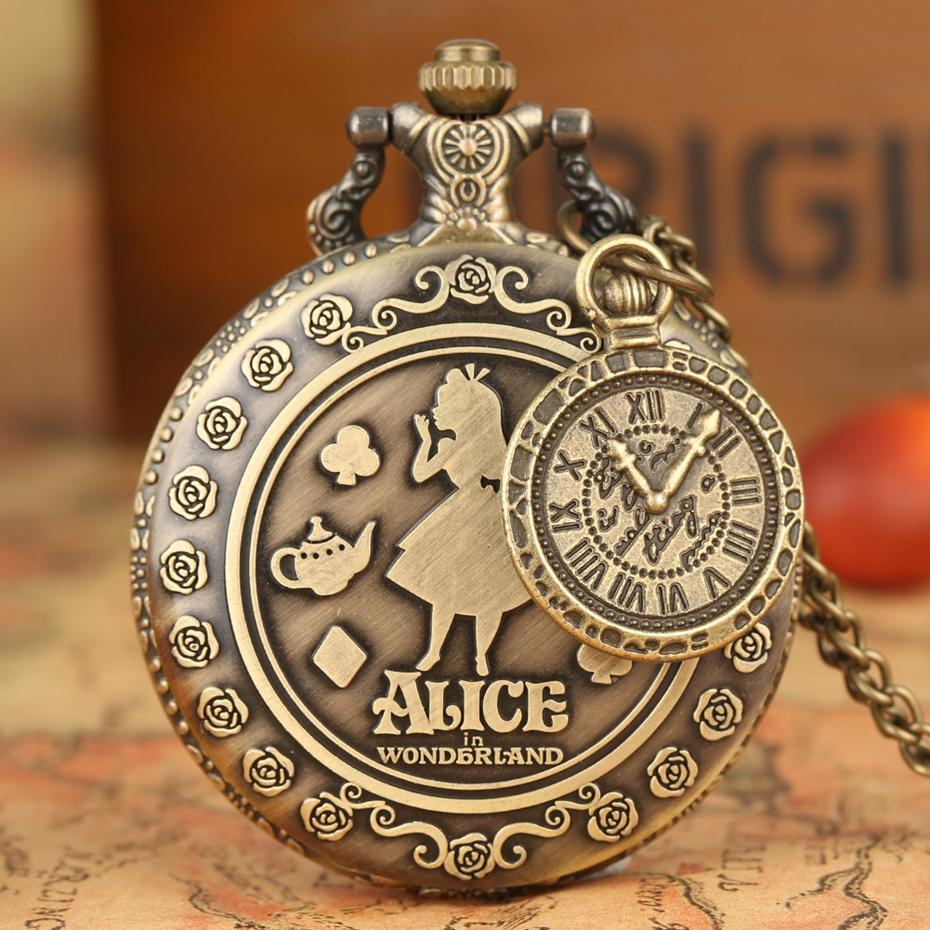 Retro Alice In Wonderland Theme Bronze Lovely Princess Quartz Pocket Watches Rabbit Carousel  Vintage Fob Watches With Accessory