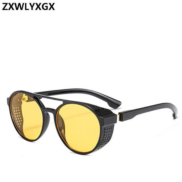 2021 Steampunk gafas de sol de las mujeres hombres Retro gafas redondo abatible hacia arriba conducción gafas Steampunk moda Vintage gafas de sol 6