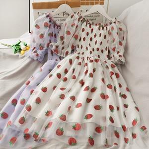 Cekiny truskawkowe sukienki damskie drukowane wysokiej talii w połowie długości siatki kobiece eleganckie sukienki na imprezę bufiaste rękawy Princess Women Dress