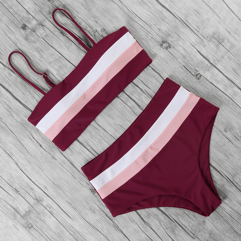 High Waist Bikini Set Bandeau Women Female Off Shoulder Swimwear Two Pieces Swimsuit Sling Bikini Women Push Up Bathing Suit