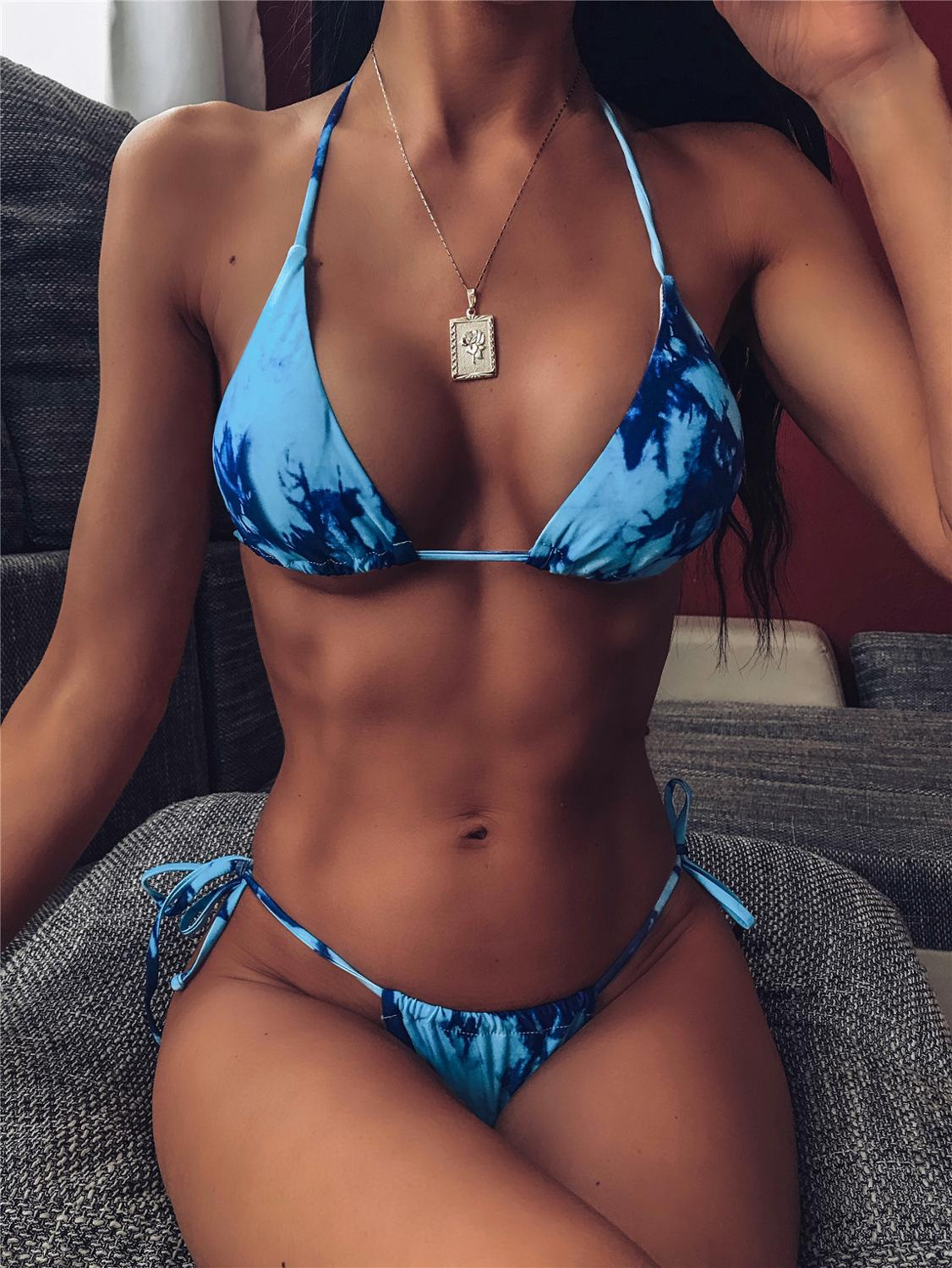 Tie Dye Bikini 2020 Micro Bikini Printed Sexy G String Swimsuit Thong Women African Swimwear Micro Floral Print Bathing Suits