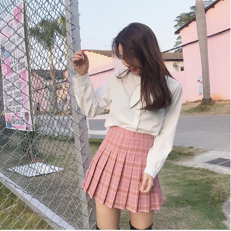 XS-2XL Women's Skirt Preppy Style High Waist Chic Sewing Skirts Summer Student Pleated Skirt Women Cute Sweet Girls Dance Skirt