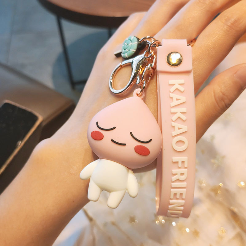 2020 Cute Fart Peach Cartoon Pink Pig Keychains Japanese Animation Pendant Doll Soft Keychain Cartoon Bag Pendant Children Gif