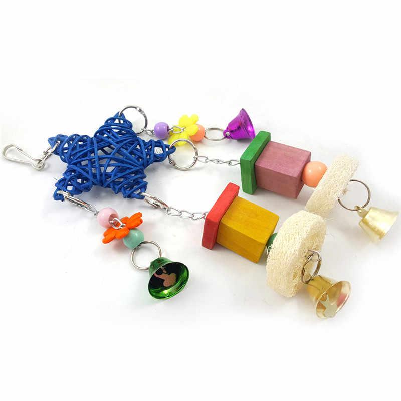 かわいいオウム鳥玩具インコケージスイング木材オウムスイング五角形風鈴鳥のおもちゃの籐咬傷鳥アクセサリー