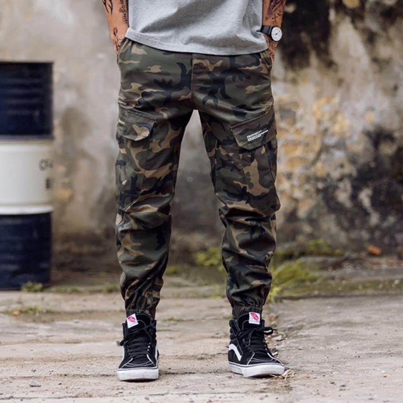 Bolsos laterais masculinos calças de carga moda