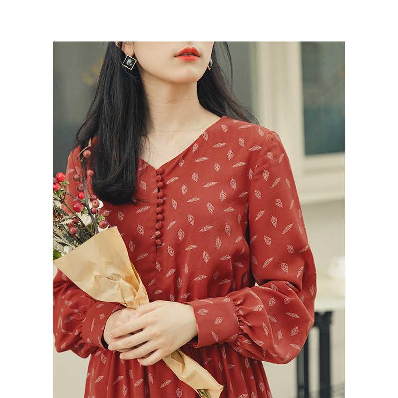 INMAN, осень 2019, Новое поступление, молодежный, литературный стиль, элегантное, v-образный вырез, Ретро стиль, на пуговицах, с определенной талией, ТРАПЕЦИЕВИДНОЕ, женское, шифоновое платье