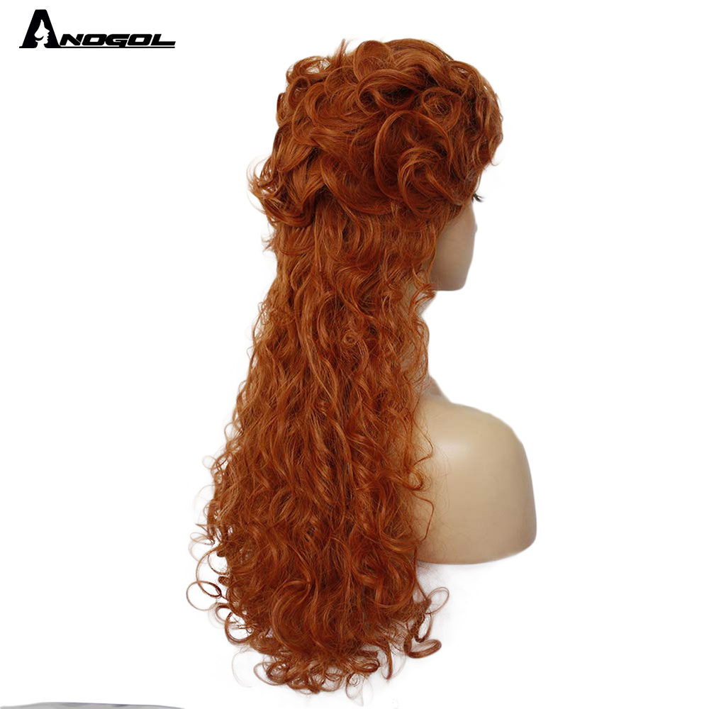 realms clara, queen, peruca longa encaracolada, laranja sintética, festa de cosplay