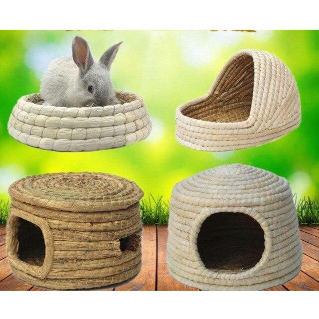 Small Pet Supplies Drop Ear Rabbit Nest Warm Grass Nest Guinea Pig Nest Dutch Pig Pet Products Hand Woven Castle Grass House 1