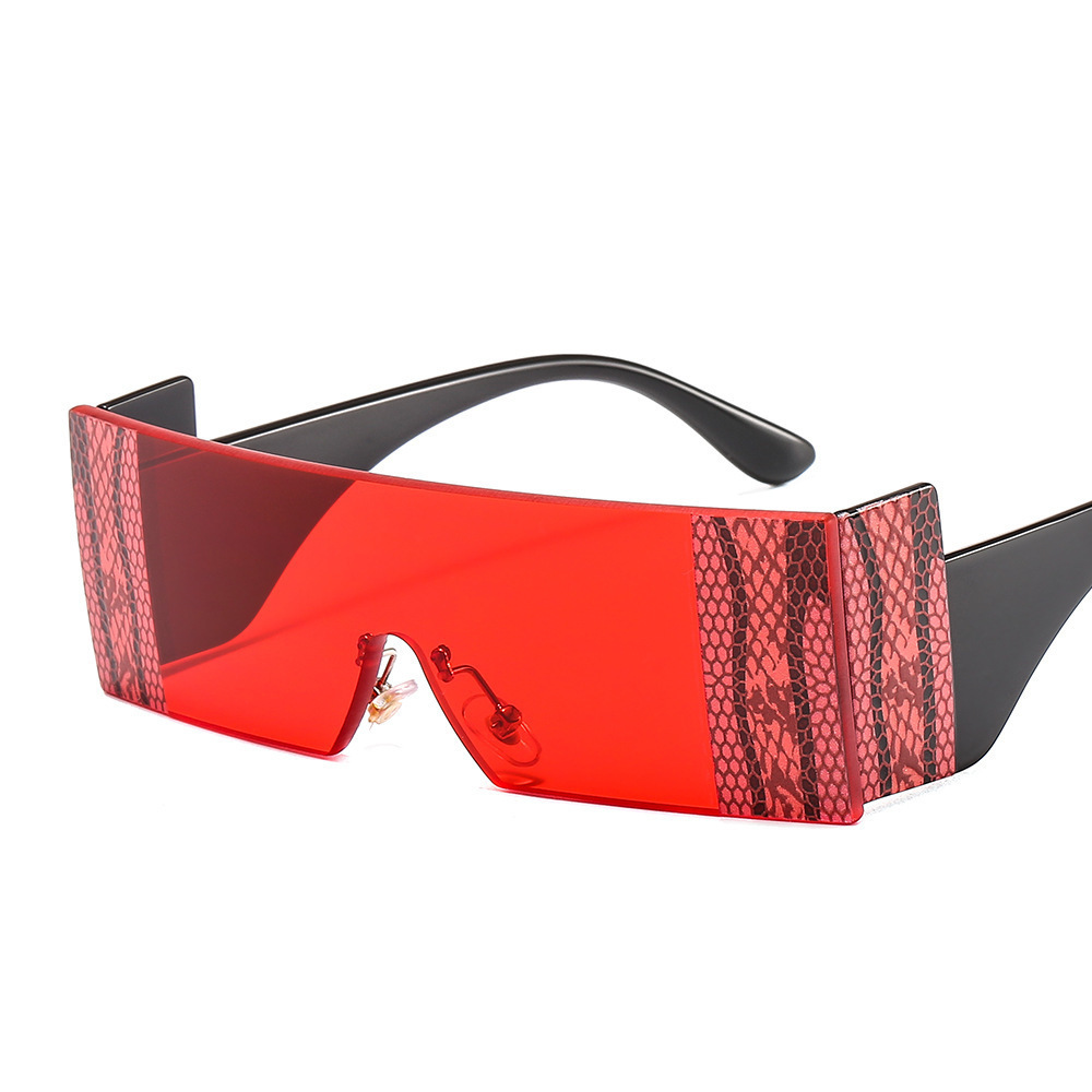 Eyeglasses Big Frame Sunglasses Men and Women Individuality Snake Pattern Conjoined Ladies Decorated Glasses