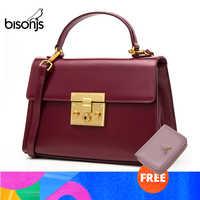 BISONJS Split Leather Women Bag Vintage Fashion women's handbags Luxury Handbags for women 2018 bolsa feminina B1400
