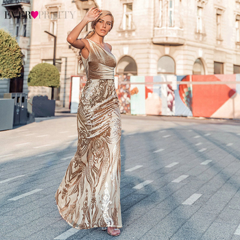 Ever Pretty Rose Gold Prom Dresses Long One Shoulder Sequined Elegant Formal Party Gowns Sexy Mermaid Gala Jurken 2020 - discount item  30% OFF Special Occasion Dresses