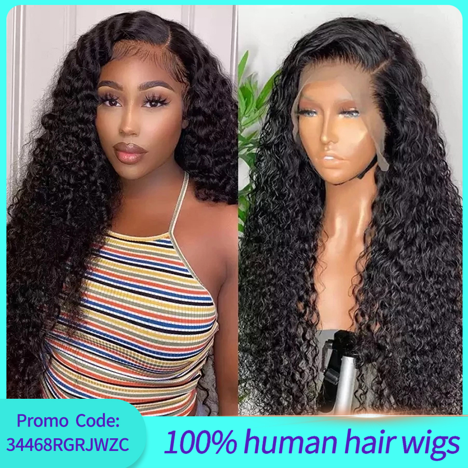 Brazilian Water Wave Curly 13x4 Lace Front Human Hair Wigs For Black Women Natural Hairline Body Pre-plucked Lace Front Wigs