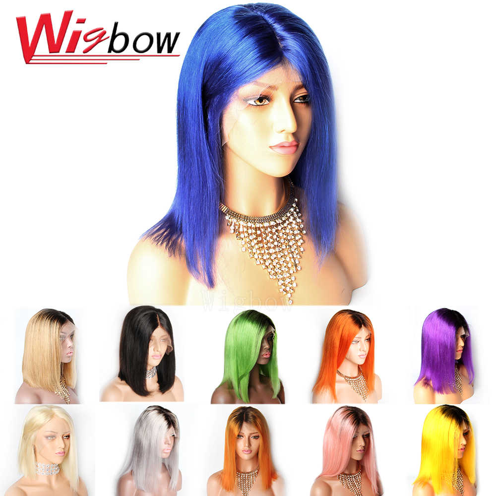 Blue Straight Lace Front Wigs Pre plucked 613 Blonde Pink Green Granny Grey Ombre Short Bob Human Hair Wigs Remy Hair