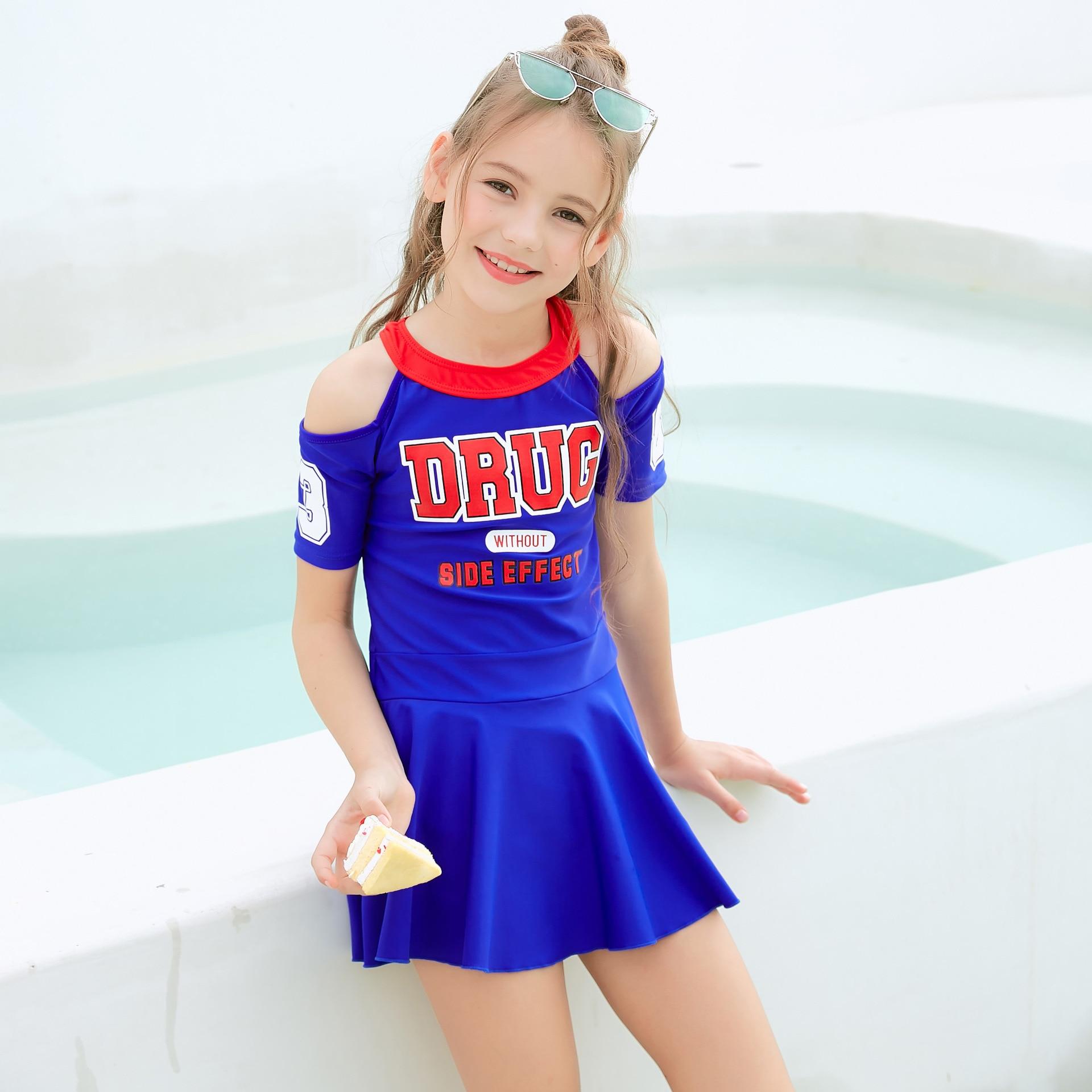 Dai Xi Si KID'S Swimwear Girls Big Boy Skirt One-piece Boxer Holiday Bathing Suit Summer Girls Dress 9506