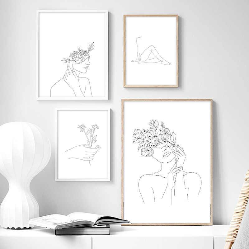 Kesederhanaan Gambar Garis Poster Dan Cetak Hitam Putih Abstrak Bunga Wanita Karya Seni Kanvas Lukisan Dinding Seni Gambar Dekorasi Rumah Aliexpress
