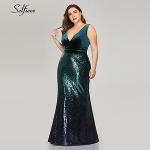 Image 3 - เซ็กซี่Velvet Party Dress Plusขนาดผู้หญิงVคอแขนยาวMermaid Sequinฤดูร้อนใหม่Maxi Bodycon Vestidos De fiesta