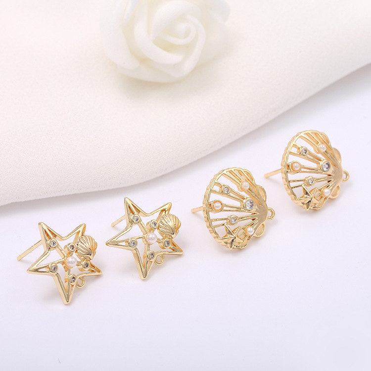 4PCS <font><b>15x15MM</b></font> 15x18MM 24K Gold Color Brass with Zircon Star Sector Stud Earrings High Quality Diy Jewelry Findings Accessories image