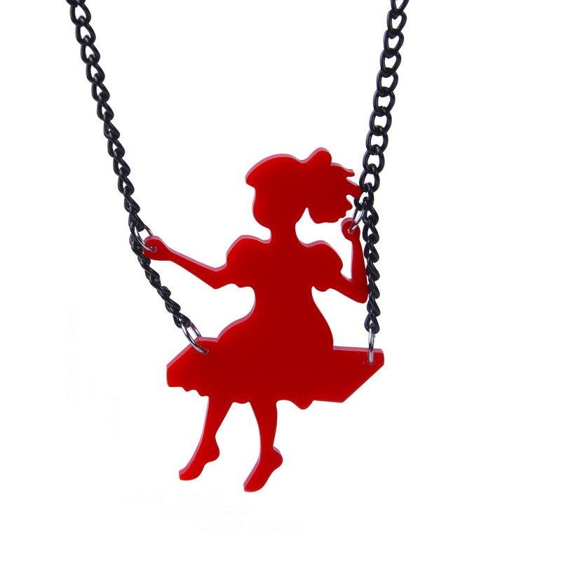 2019 New Cute Little Girl On Swing Fashion Cartoon Pendants Necklaces Acrylic Necklace Women Accessories Drop