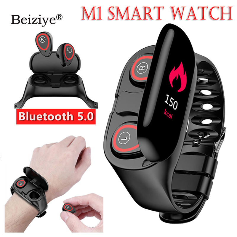 <font><b>M1</b></font> Newest AI Smart <font><b>Watch</b></font> With Bluetooth Earphone Heart Rate Monitor Smart Wristband Sport <font><b>Watch</b></font> Men for Android IOS image