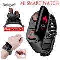 M1 Neueste AI Smart Uhr Mit Bluetooth Kopfhörer Herz Rate Monitor Smart Armband Sport Uhr Männer für Android IOS-in Smart Watches aus Verbraucherelektronik bei