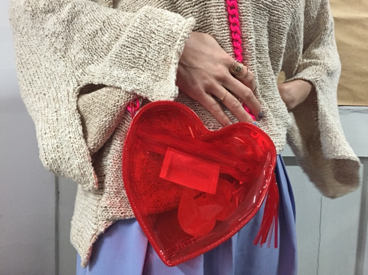 Red Heart Designer Clear PVC Coin Bags Women Young Grils Fashion Street Bags