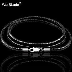 Кожаный вощеный шнурок для ожерелий, 40-80 см, 1-3 мм, кожаный шнурок, застежка-лобстер из нержавеющей стали, соединительная цепь для мужчин и же...