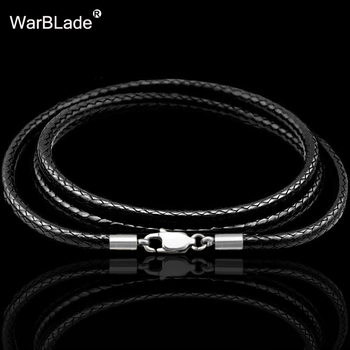 40-80cm 1-3mm Leather Necklace Cord Waxed Rope Stainless Steel Lobster Clasp Connector Chain Men Women DIY Jewelry - discount item  41% OFF Jewelry Making