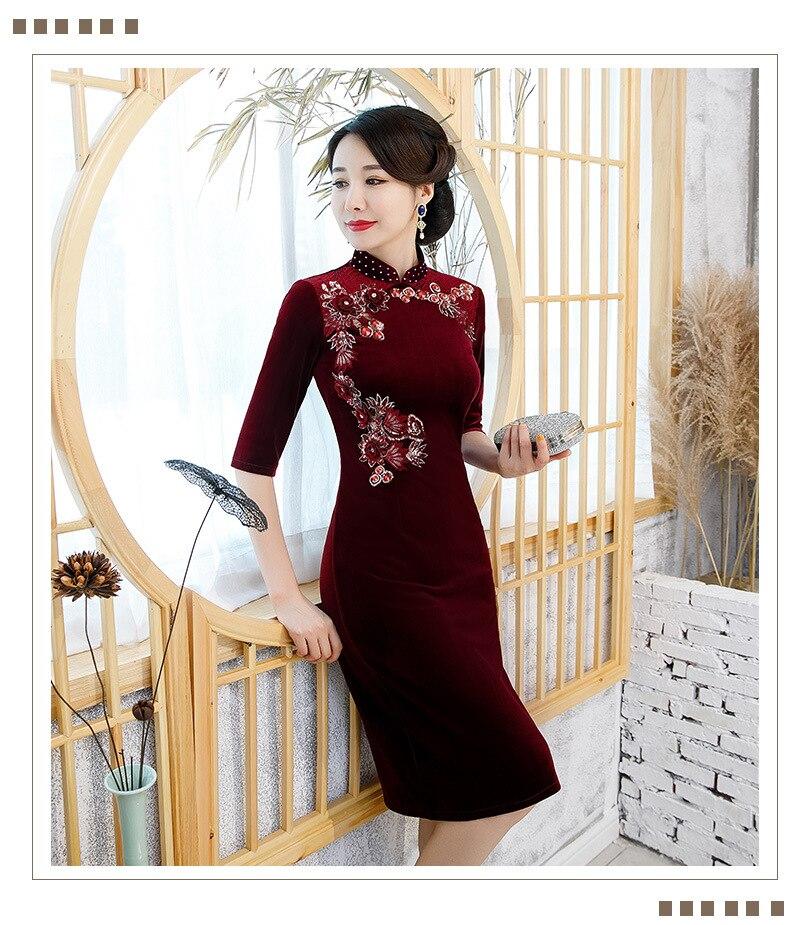 Embroidery Handmade  Beading Chinese Women Sexy Velour Cheongsam  Autumn New Vestidos Velvet Qipao Dres