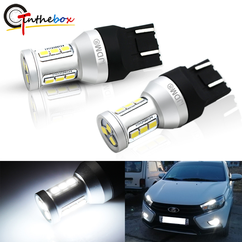 2PCS High Power <font><b>T20</b></font> 7443 W21/5W <font><b>7440</b></font> W21W CAN-bus <font><b>LED</b></font> DRL Daytime Running Light Backup Lamp bulbs For Lada Kalina Granta Vesta image