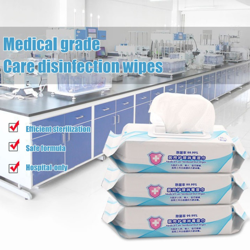 80pcs Medical Disinfection Portable No Alcohol Wipes Antibacterial Sterilization Clean Hand Disinfection Wounds Toys Non-irritat