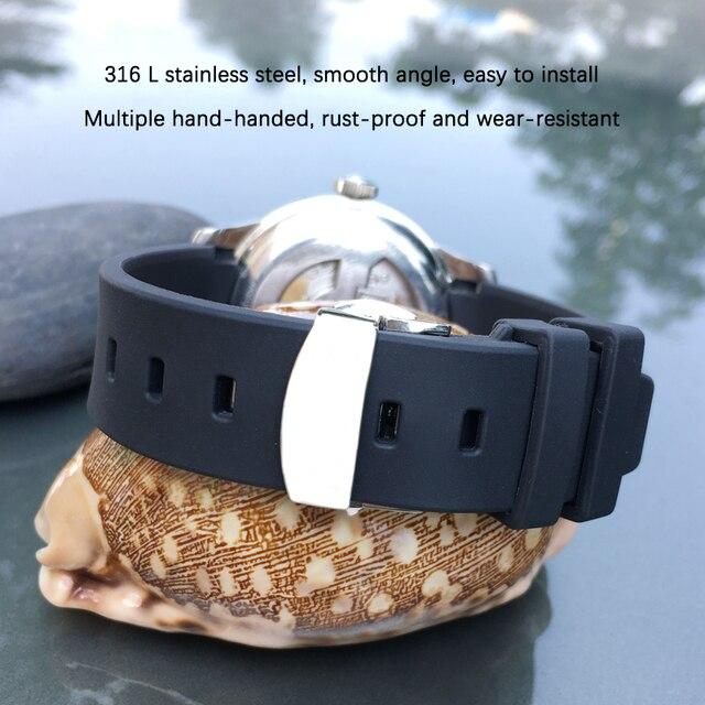 19mm 20mm 21mm kauçuk silikon saat kayışı kelebek toka iğne toka spor Watchband için Fit Tissot serisi İzle erkekler için