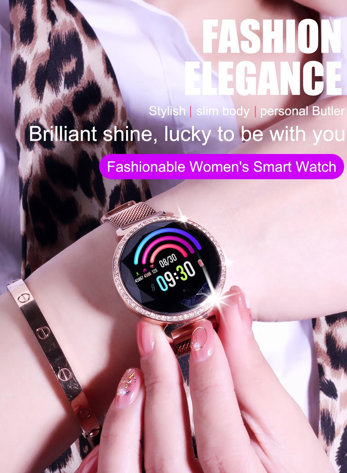 LEMFO MC11 Women Smart Watch Milanese Strap Replaceable Steel Case 60 Luxury Rhinestones IP67 Waterproof Lady Smartwatch