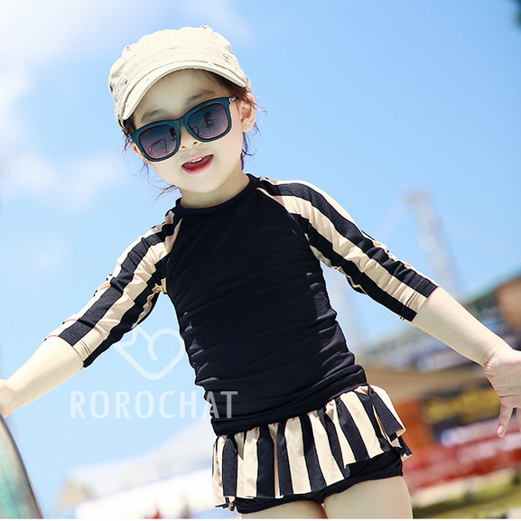 E Children's Swimsuit Big Virgin Girls Long-Sleeve Striped Sun-Protection Korean-style-Style Two-Piece Swimming