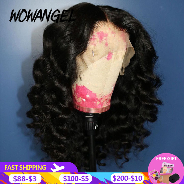 $ US $58.30 Pre Plucked 13*6 Transparent Lace Wigs 250% Baby Hair Deep Wave Brazilian Remy Human Hair Lace Front Wigs For Women Black