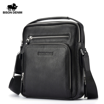 цены BISON DENIM Genuine Leather Men Bags Ipad Handbags Male Messenger Bag Man Crossbody Shoulder Bag Men's Travel Bags N2333