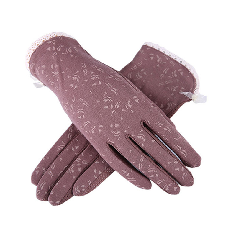 New Women Lace Sunscreen Gloves Autumn Spring Lady Stretch Touch Screen Anti Uv Slip Resistant Driving Glove Breathable Guantes