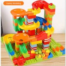 165/330 Uds. Bloques de carrera de mármol compatibles con bloques de construcción Duploed bloques de deslizamiento de embudo DIY ladrillos de juguete regalo de Navidad al por mayor