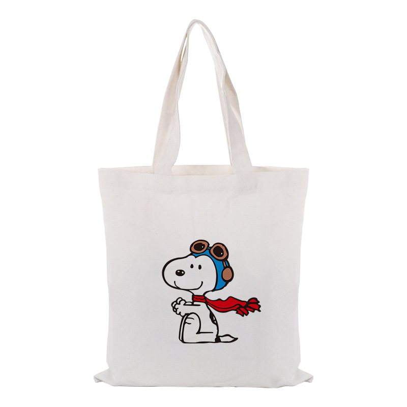 Cute Cartoon Dog Canvas Tote Bag Handbag Custom Print Logo Text DIY Daily Use Eco Ecologicas Reusable Shopping Bag Recycle