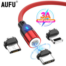 3A Magnetic USB Cable For iPhone Samsung Xiaomi Huawei Micro Type C Fast Charging Data Charge Cable USB C Mobile Phone Cable