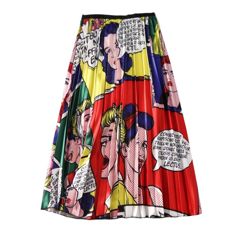 Women's Cartoon Print Skirts European Summer Printing High Waist A-line Big Swing Pleated Midi Skirts Harajuku Female SP526