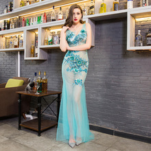 Nightclub Dress Perspective Evening Long Beaded Mermaid Applique Elegantes Light Green For Party 2019