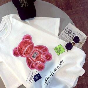 Женская футболка средней длины с коротким рукавом, красная Сетчатая футболка с блестками и медведем, летние свободные повседневные универсальные топы с мультяшным принтом в Корейском стиле для женщин, 2021 Футболки      АлиЭкспресс