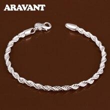 925 Sterling Silver 4MM Link Chain Bracelet For Women Twisted Rope Bracelets Silver Jewelry